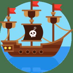 ícone de barco pirata